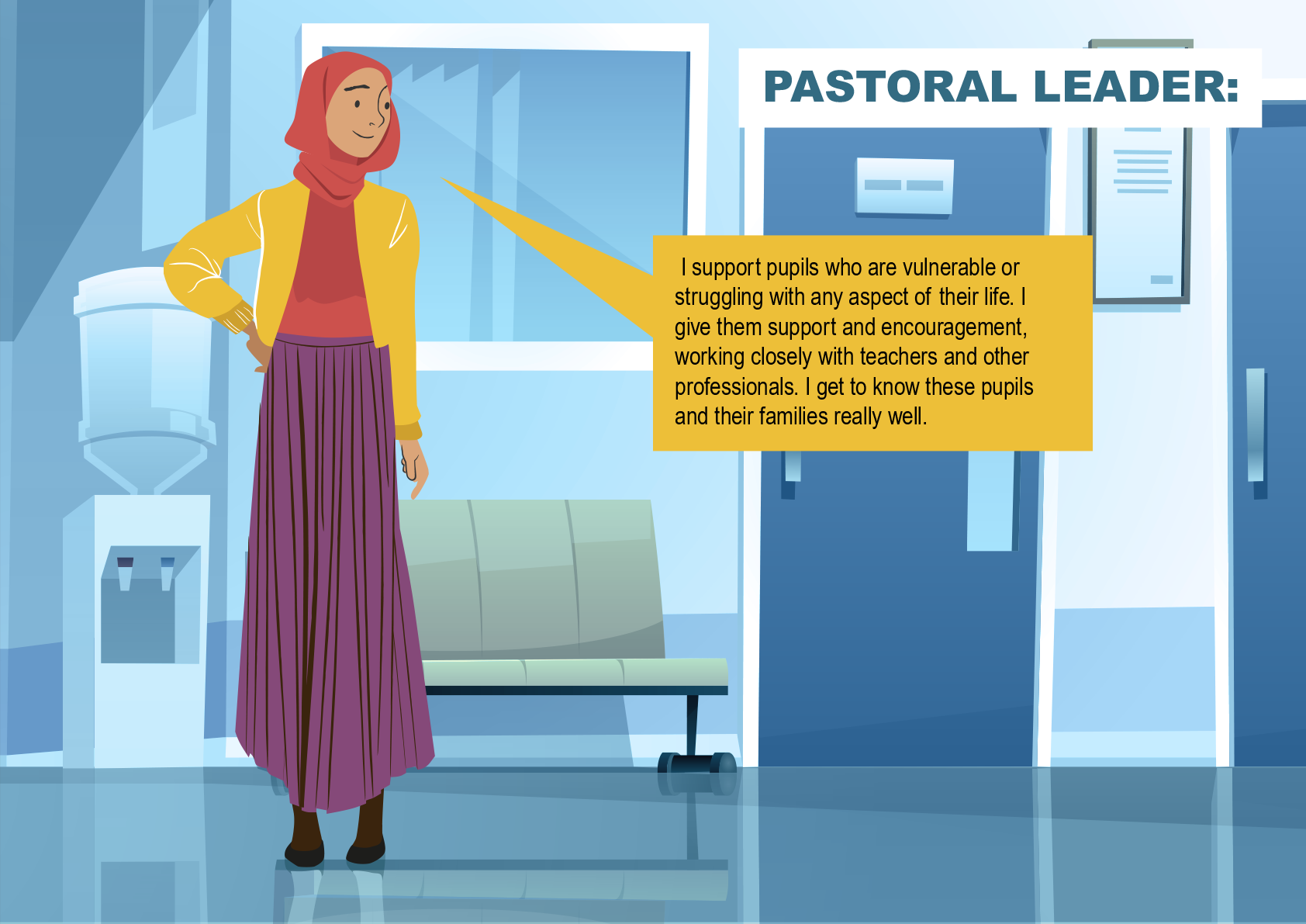 The Pastoral leader is standing next to a sofa and a water-cooler