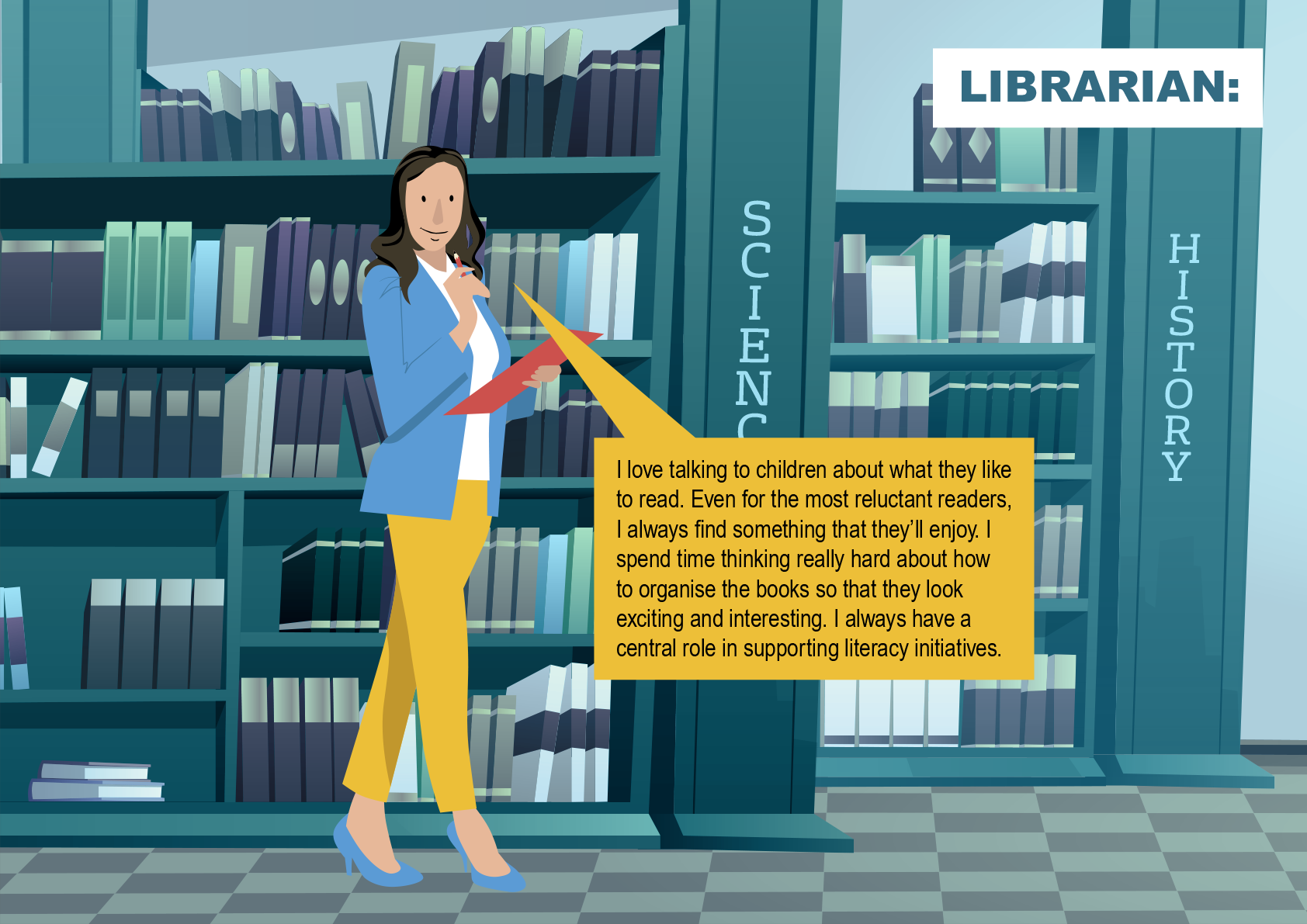The librarian is standing in front of some bookshelves